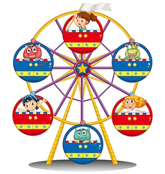 A carnival ride with monsters and kids vector image