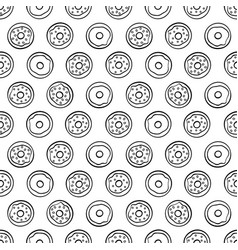 cartoon cute donuts on white background seamless vector image