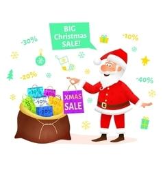 Christmas sale Santa Claus holding Xmas gift vector image
