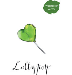 colorful lollypop green heart candy love concept vector image