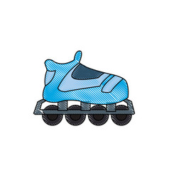 drawing blue skate sport wheels vector image