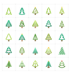 mini icon set - christmas tree icon vector image vector image