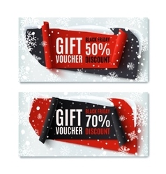 Two Black Friday winter gift vouchers vector image vector image