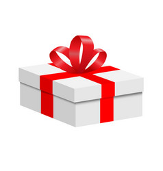 A box with a red ribbon and a bow vector