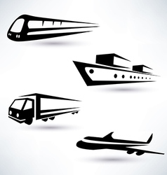 cargo transportation icons set logistics concept vector image vector image