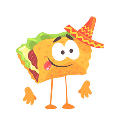 mexican taco character with meat and vegetables vector image vector image