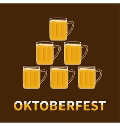 Oktoberfest Six beer glass mug pyramid Flat vector image