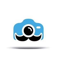 Photo logo design Fun camera with a mustache vector image