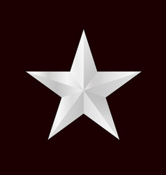 silver 3d star with bright sides vector image vector image