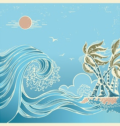 Big waves blue seascape vector image vector image