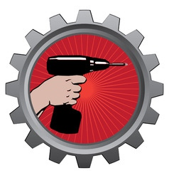 drill in badge vector illustration eps 10 vector image