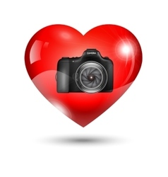 Fully Heart with photo camera vector image vector image