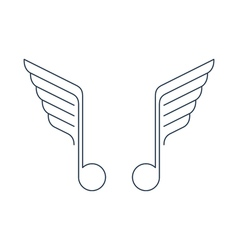 Music logo thin lines with wings vector image vector image