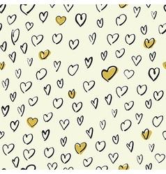 Seamless Hand Drawn Hearts Pattern vector image vector image