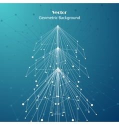 White fir tree made of connected lines and dots vector