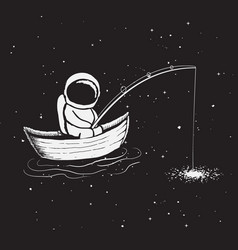astronaut sits in boat and catches a stars vector image vector image