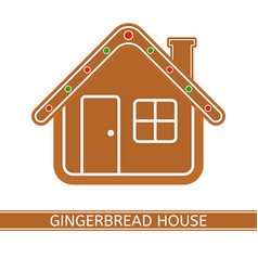 gingerbread house isolated on white vector image vector image