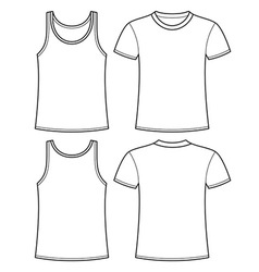 Singlet and T-shirt template vector image vector image