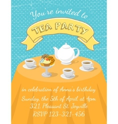 Tea Party Invitation Template vector image vector image