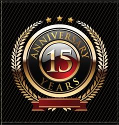 15 years anniversary golden label vector