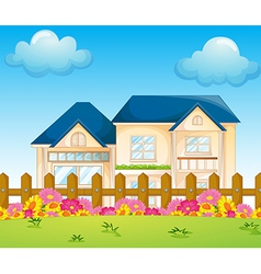 A concrete house inside the fence vector image
