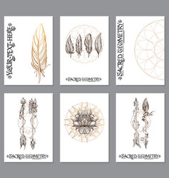 A set of cards with a style of boho posters for vector