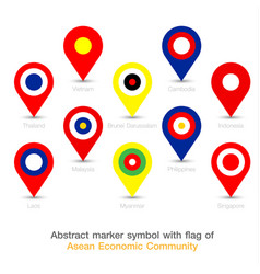 abstract marker symbol with flag of aec vector image