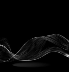 abstract white wave on a black background vector image