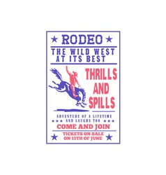 American rodeo cowboy riding bucking bronco vector