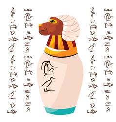 Ancient egyptian ritual vase with falcon head vector