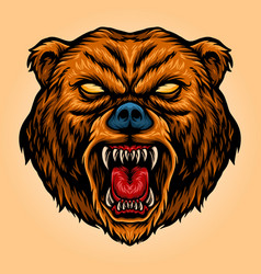 Angry bear cartoon mascot aggressive vector