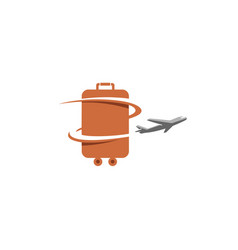 Bag airplane creative travel symbol design logo vector