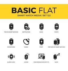 Basic set of Smart watch media icons vector