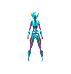 Blue female robot space suit superhero cyborg vector