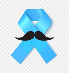 blue prostate cancer awareness ribbon realistic vector image