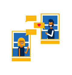 Boy and girl on online social media chat concept vector
