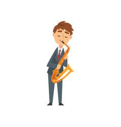 Boy playing saxophone talented young saxophonist vector