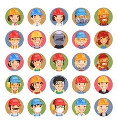 Builders Cartoon Characters Icons Set13 vector image