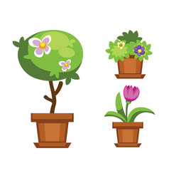 cartoon garden and houseplants vector image