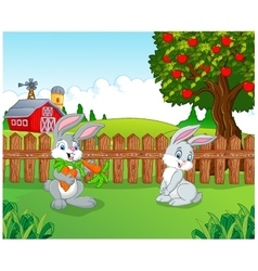 Cartoon little bunny in the farm vector