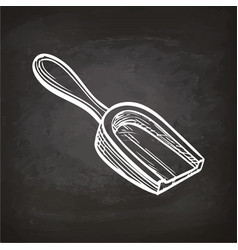Chalk sketch of wooden scoop vector