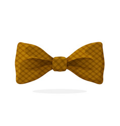 Checkered retro bow tie brown color vector