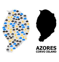 Climate mosaic map corvo island vector