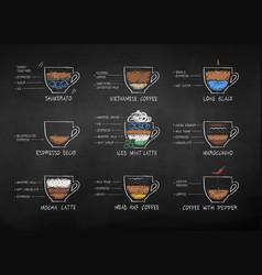 color chalk drawn coffee recipes vector image