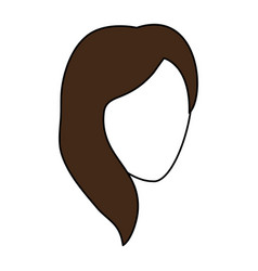 Color silhouette image faceless front view woman vector