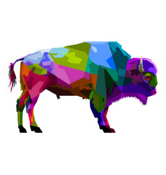 colorful bison pop art style isolated on white vector image