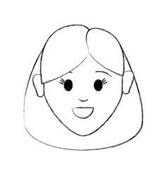 contour happy face woman with hairstyle vector image