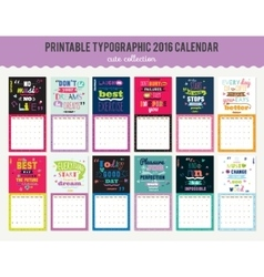 Cute calendar diary 2016 with typographic vector