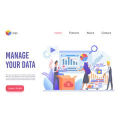 Data management flat landing page template vector