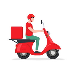 Delivery man motorbike logo icon scooter bike vector